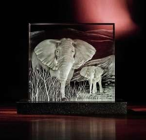 This limited edition Steuben creation is titled African Elephants and was designed by Eric Hilton in 2009. Just one year after production the piece is valued at Photo courtesy of Steuben Glass.