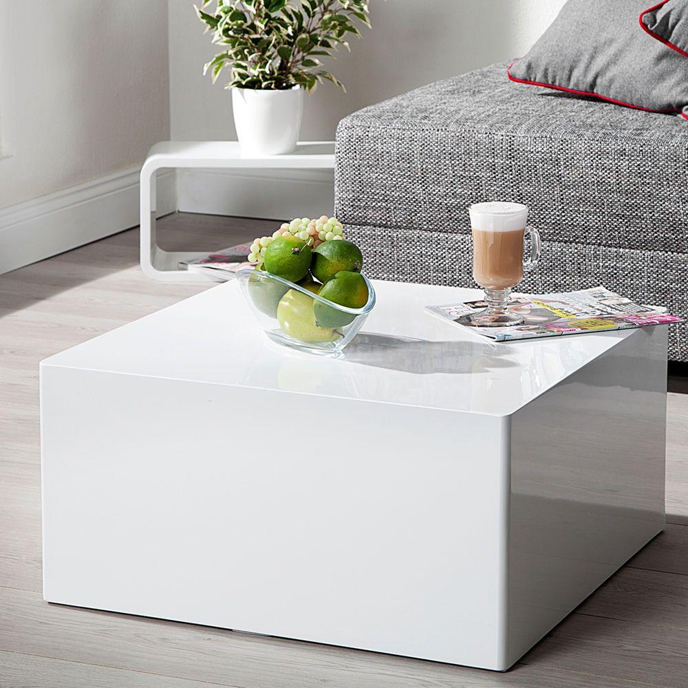 Design Couchtisch Monobloc L Weiss Hochglanz Beistelltisch Tisch