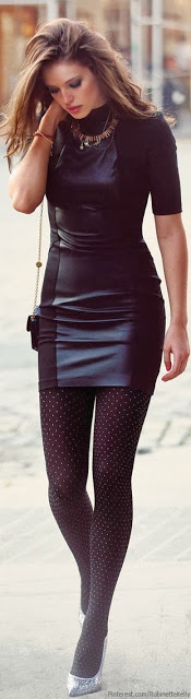 Really cute leather black dress with polka dots black tights | Just a Good Pic