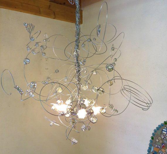 Wire Chandelier LED transparent glas MARBLES pendant light – Wire Chandeliers