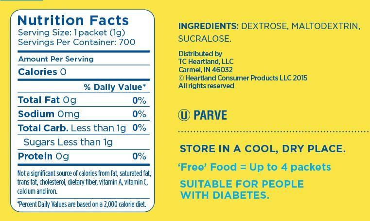 Nutrition Facts Splenda No Calorie Sweetener Packets Ingredients Dextrose Maltodextrin Sucralose Use A Packet Nutrition Nutrition Facts Sucralose