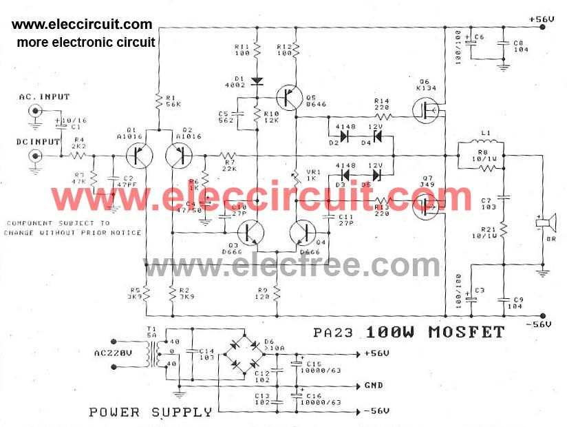 Dc Servo Amplifier Circuit Ocl Output 100w Use Mosfet K134 J49 Or Mosfet J162 K1058 Output 112w At Speaker 8 Ohm P Circuit Amplifier Electronics Circuit