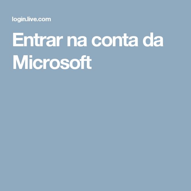 Entrar na conta da Microsoft