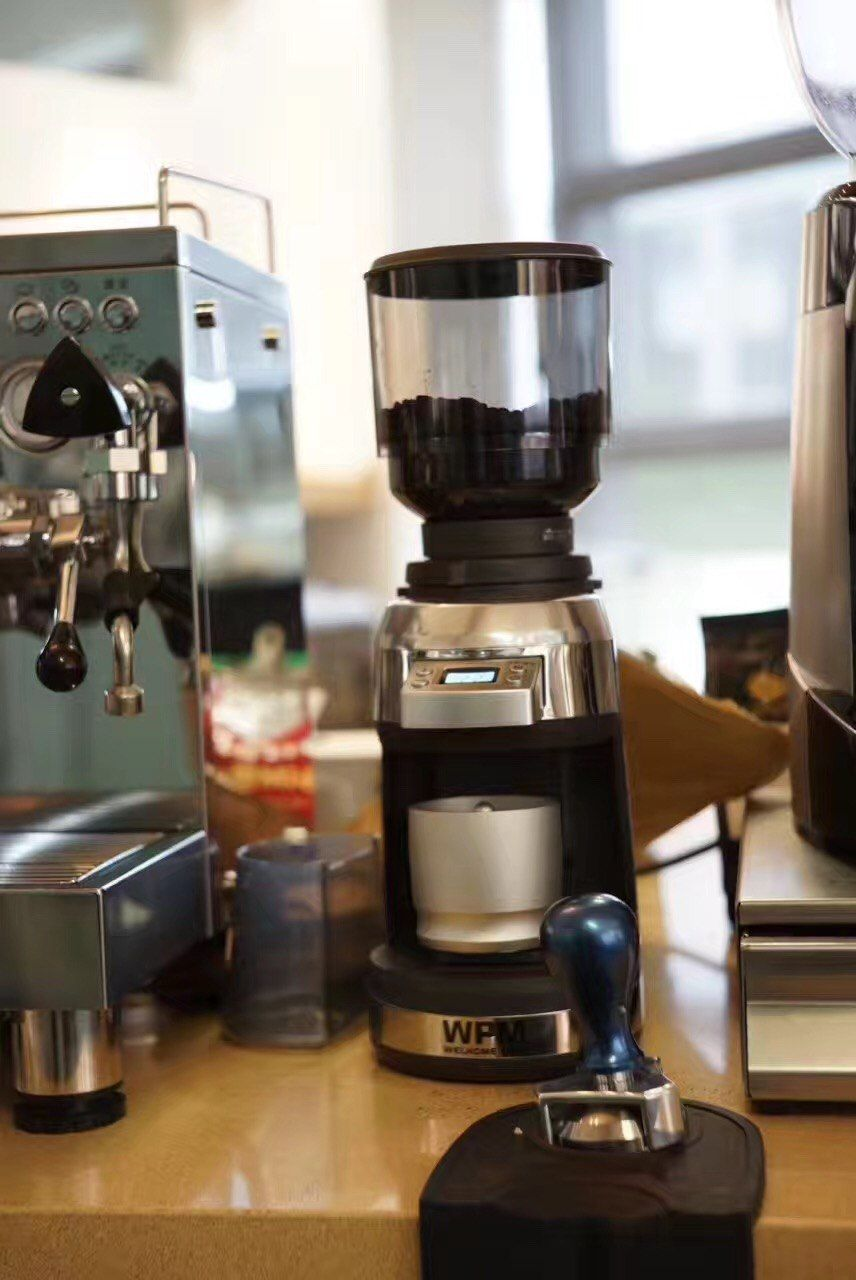 Welhome Pro Zd17W conical burr coffee grinder with scale