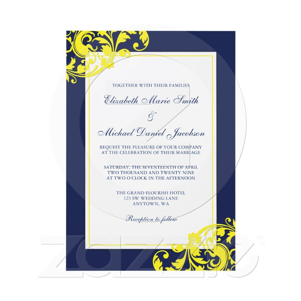 Navy Blue and Yellow Flourish Swirls Wedding Invitation | Pinterest ...
