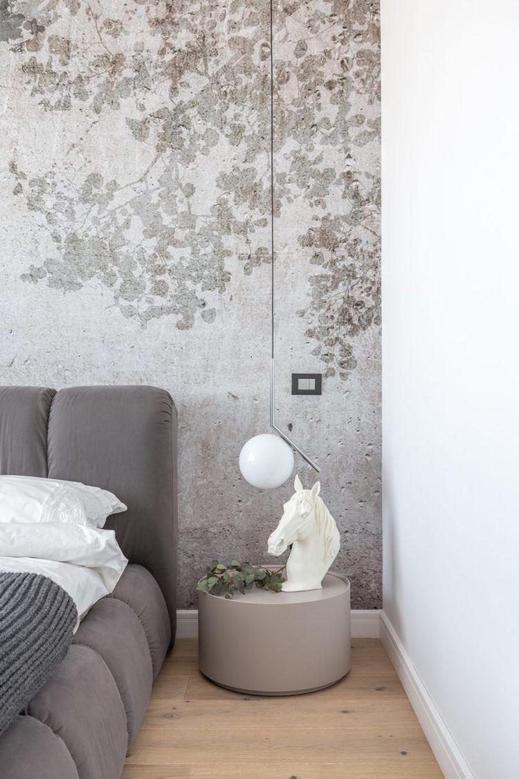 graue einrichtung schlafzimmer deko weiss modern hängeleuchte ...