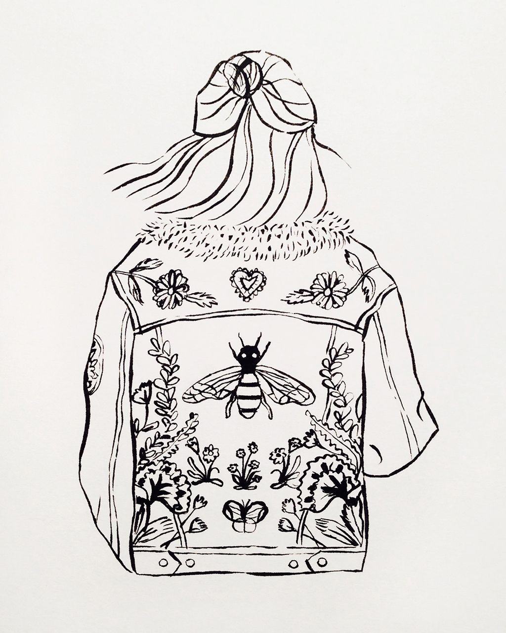 Ink Illustration Denim Jacket Fashion Drawing Illustrations