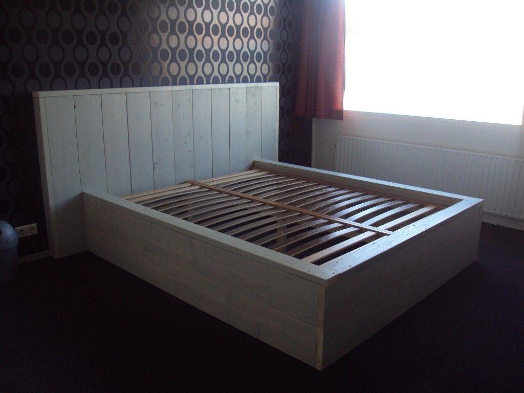2 Persoonsbed Met Lades.Bouwtekening 2 Persoons Bed Van Steigerhout In 2019 Slaapkamer