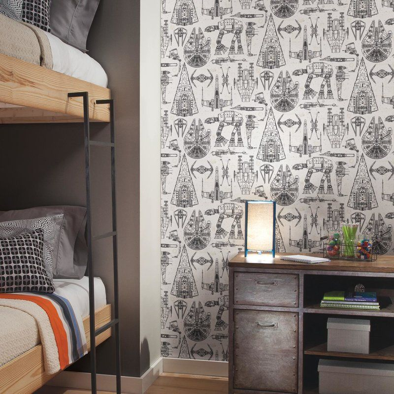 Love This Star Wars Peel And Stick Wallpaper Roll My Son Would Love This For His Room Affiliate Ki Star Wars Room Star Wars Boys Room Star Wars Bedroom
