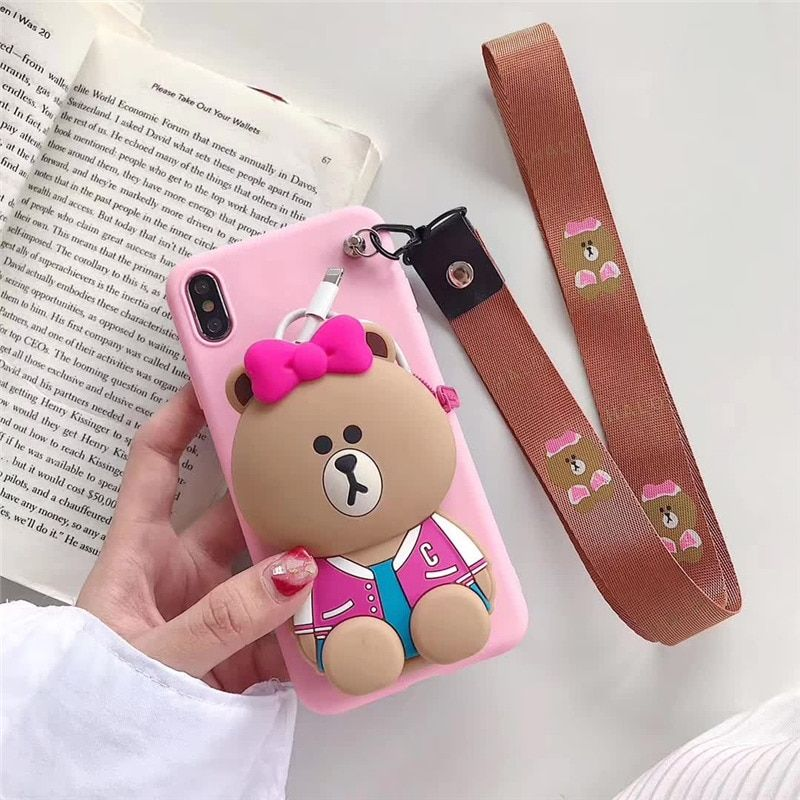 3D stitch bear silicone Phone cover case for samsung S9 S10 Note case