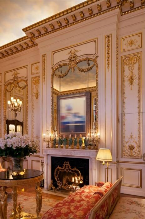One of two fireplaces in Joan Rivers' palatial penthouse