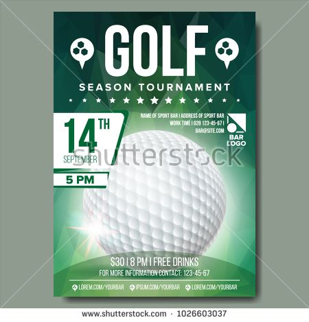 Golf Poster Vector Sport Event Announcement Banner Advertising - invitation format for an event