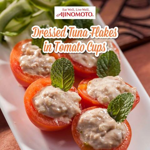 [AJI RECIPE] This Dressed Tuna Flakes in Tomato Cups recipe is a great appetiser for any parties. Try it today: http://bit.ly/2gsQmDE