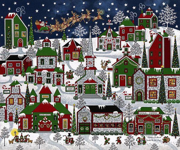 Santa's On His Way Art Print by Medana Gabbard