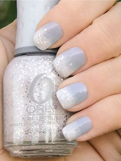 Reminds me of a snowy day.  Pale blue nail polish, with white sheer sparkly fade (Peaceful Opposition by Orly)