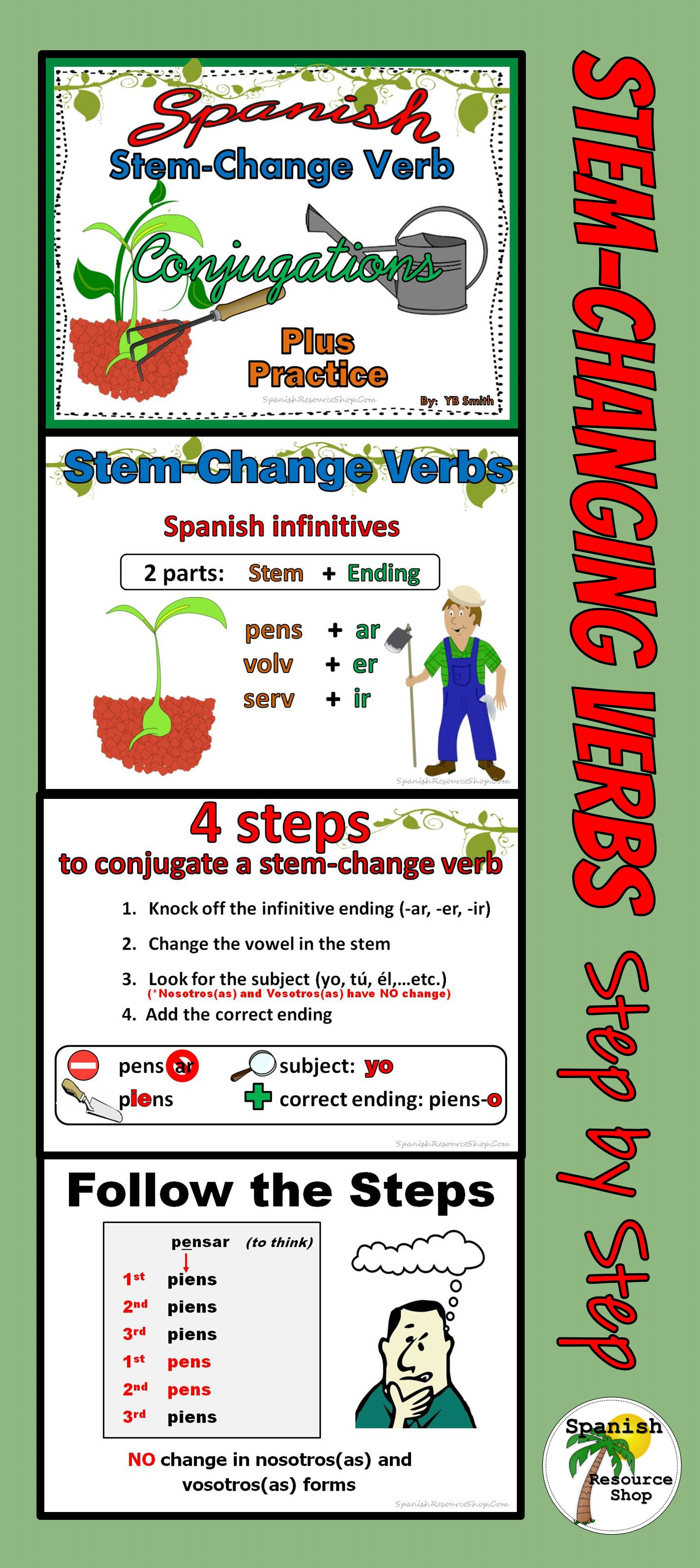 Spanish Stem Change Verbs Conjugations Notes And Practice
