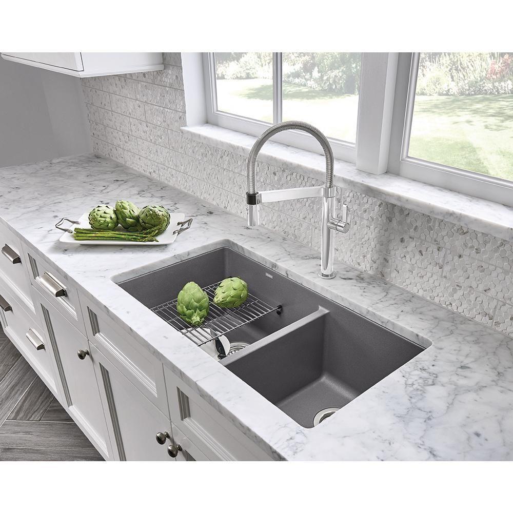 Blanco Precis Undermount Granite Composite 33 In 60 40 Double Bowl Kitchen Sink In Metallic Gray 441130 Undermount Kitchen Sinks Kitchen Remodel Kitchen Renovation