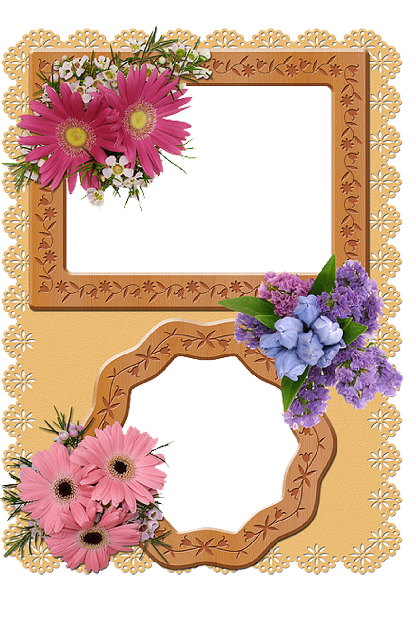 cool lacy border double photo frame with flower - Double Frames