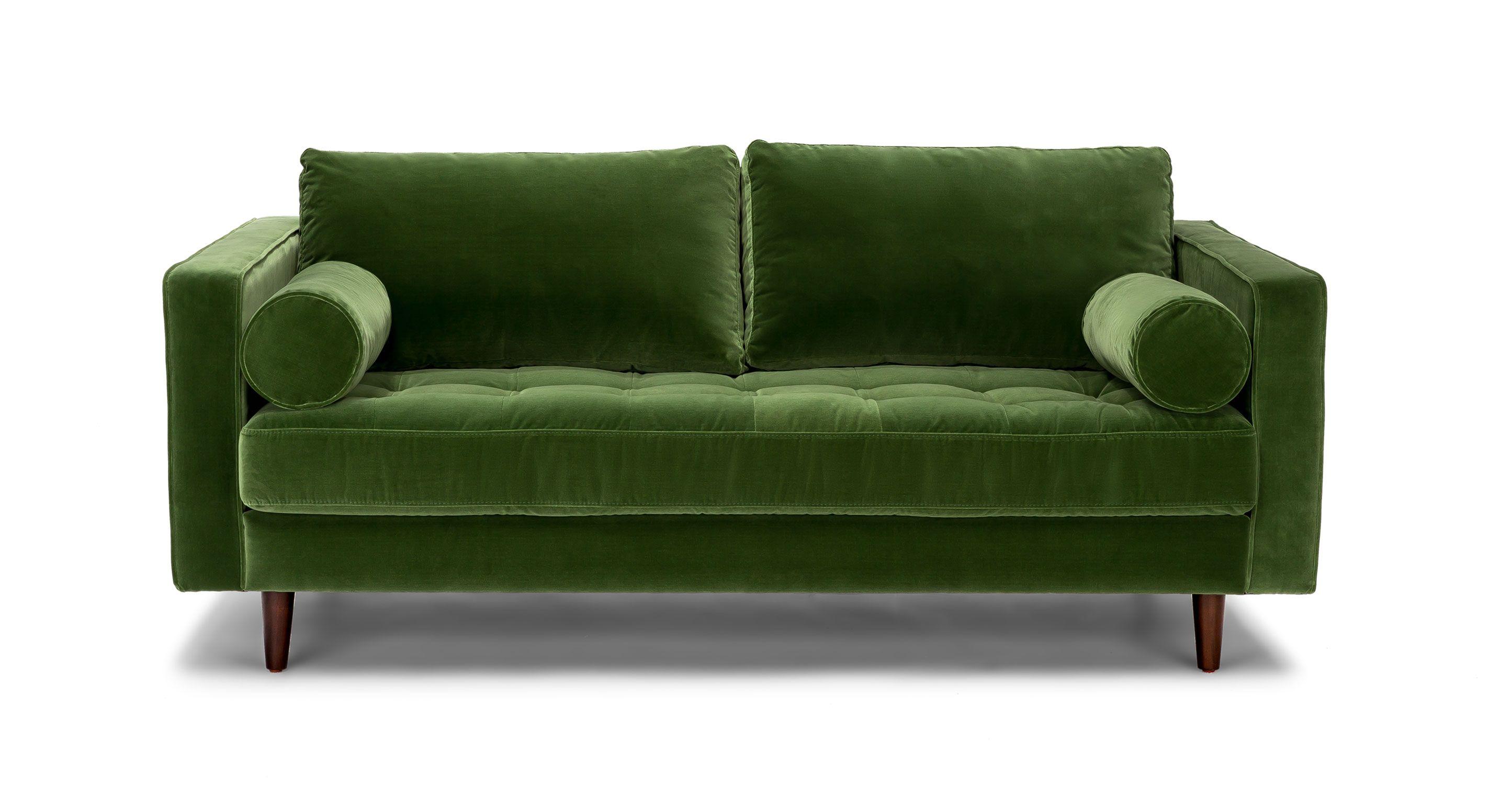 Green Velvet Tufted Sofa 72
