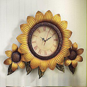 Charmant Oversized Sunflower Clock