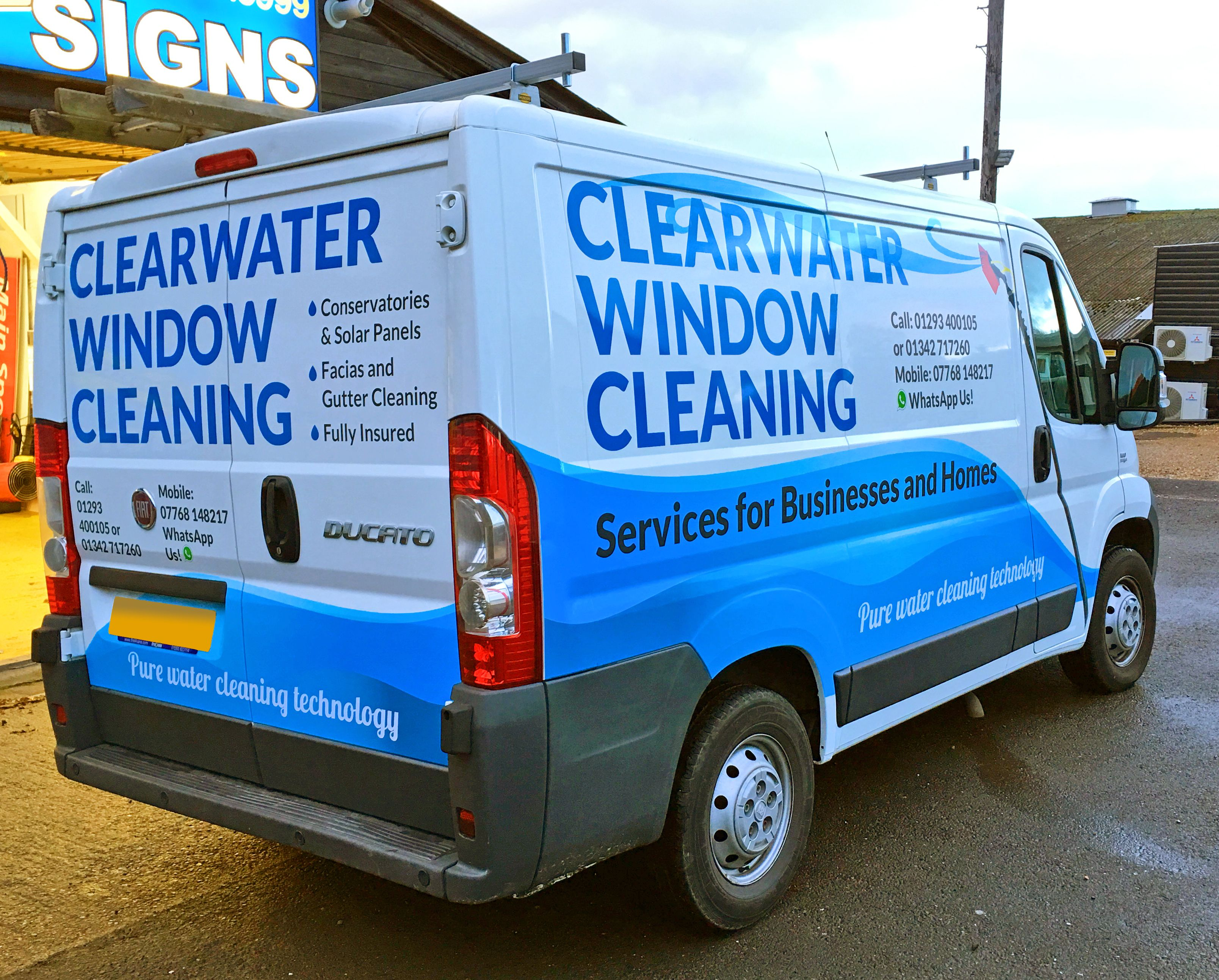 475b843e93 Fiat Ducato van graphics for Clearwater Window Cleaning