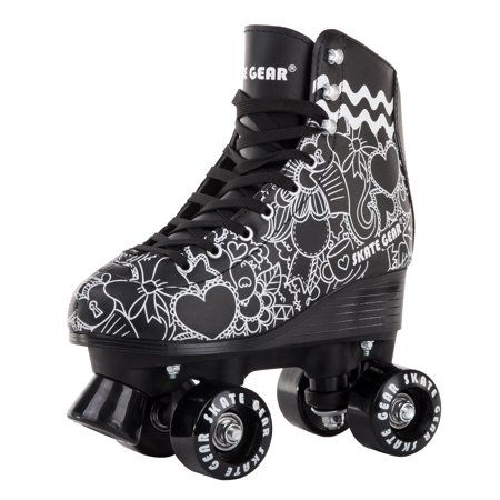Cal 7 Cal 7 Roller Skates For Indoor Outdoor Skating Faux Leather Boot With Quad Design Ankle Supp Outdoor Roller Skates Roller Shoes Retro Roller Skates