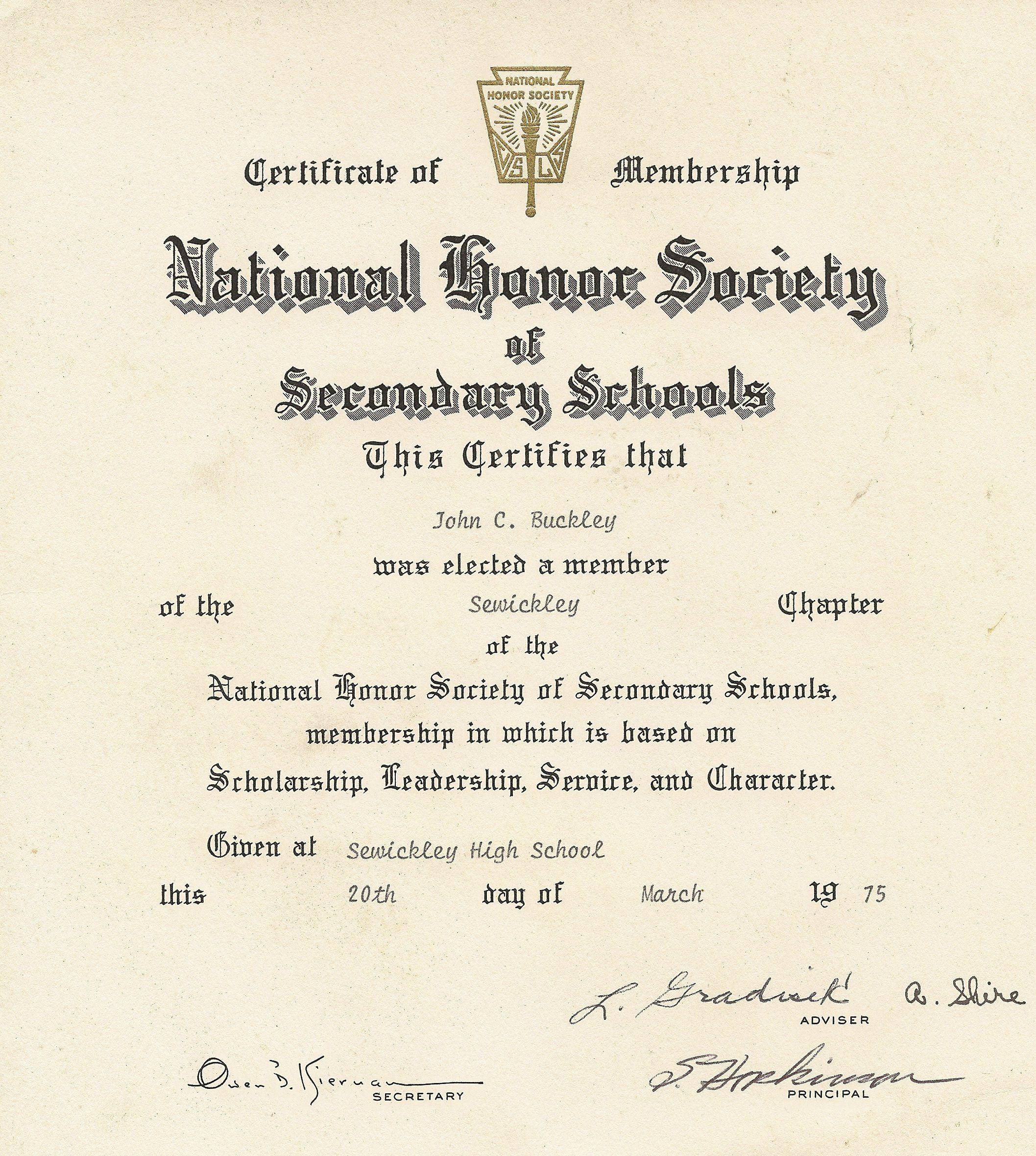 National Honor Society National Honor Society Honor Society National