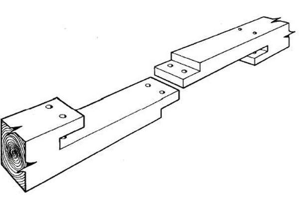 Straight scarf joint with pins. Can be used to section large tent poles (if  sc 1 st  Pinterest & Straight scarf joint with pins. Can be used to section large tent ...