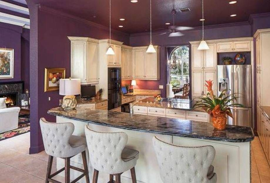 Kitchen Ideas Of Paint Colors For With Purple Wall Color And Double Island Marble Countertop White Cabinets