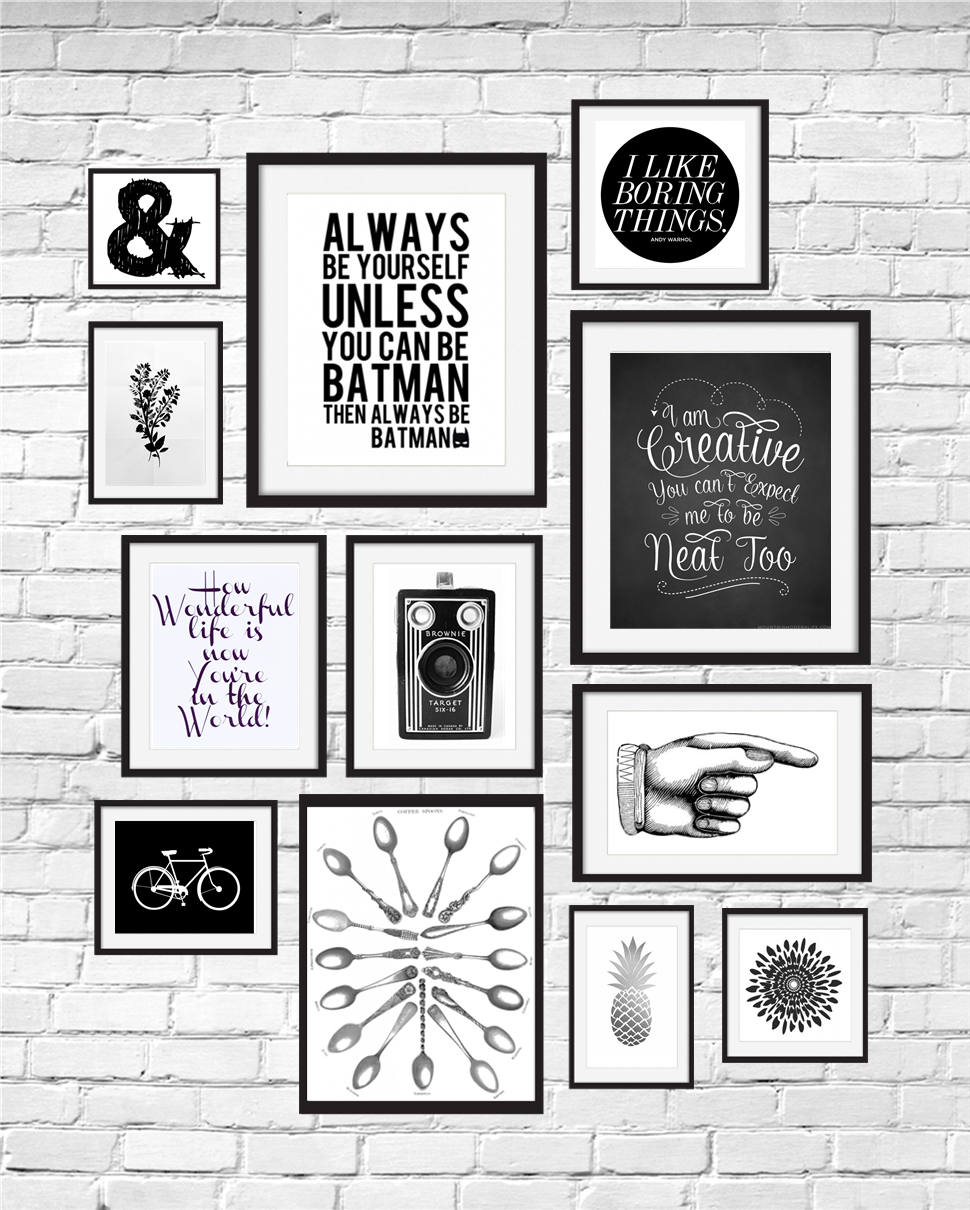 A Gallery Wall Of 12 Black And White Printables Curated By