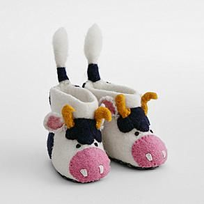 animal wool slippers - cow, 1-2 years