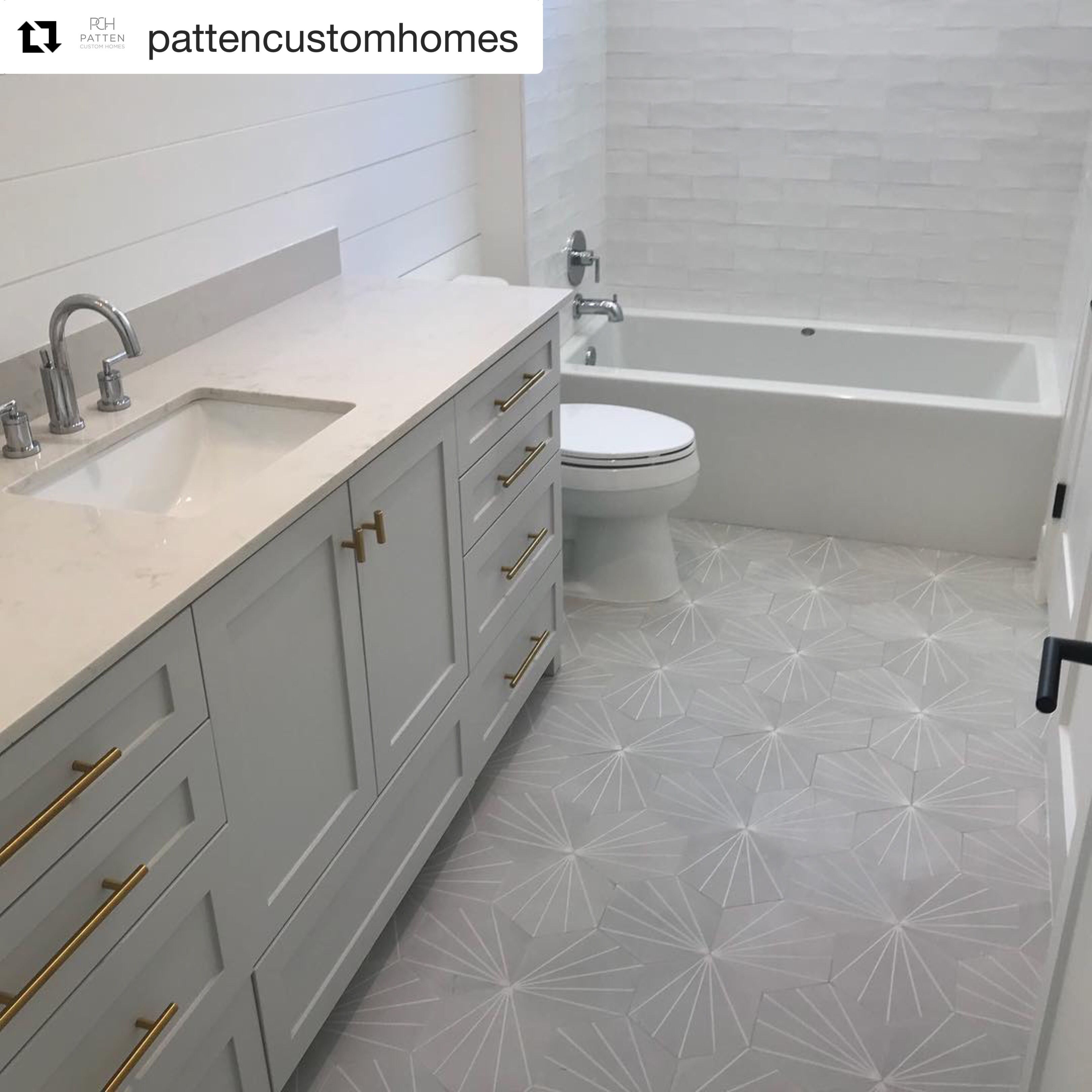 Nola Grey Geometric Tile Cement Tile Riad Tile Patterned Bathroom Tiles Grey Bathroom Floor Cement Tiles Bathroom