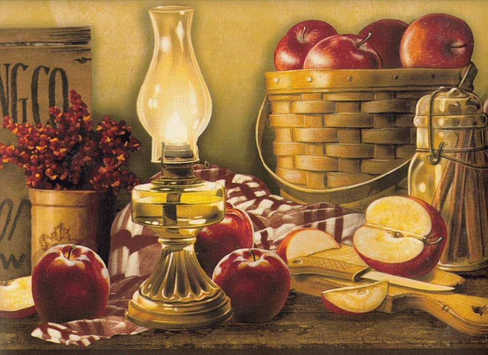 Cracker Barrel Apple Basket Wallpaper Border York New