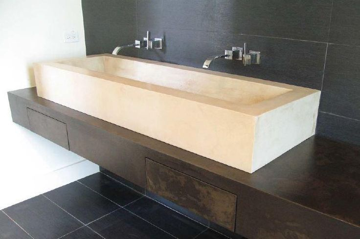 Raised Square Sink Quot Hidden Quot Drawers In The Plank Across The Front Concrete Bathroom