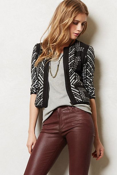 afb143e6d3 Love the jacket. Could never do pleather pants (eww). Mystique Cropped  Jacket - anthropologie.com