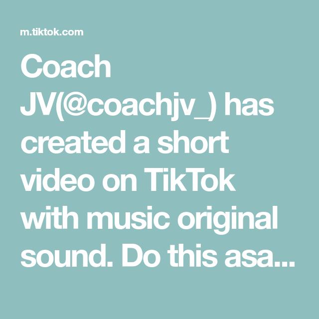 Coach Jv Coachjv Has Created A Short Video On Tiktok With Music Original Sound Do This Asap Morningroutine Goodmorning M The Originals Self Help Stress