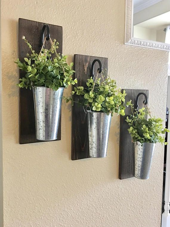 This Listing Is For A Farmhouse Inspired Set Of 2 Or 3 Hanging Galvanized Vase Sconces They Are The P Galvanized Wall Decor Galvanized Decor Rustic Wall Decor