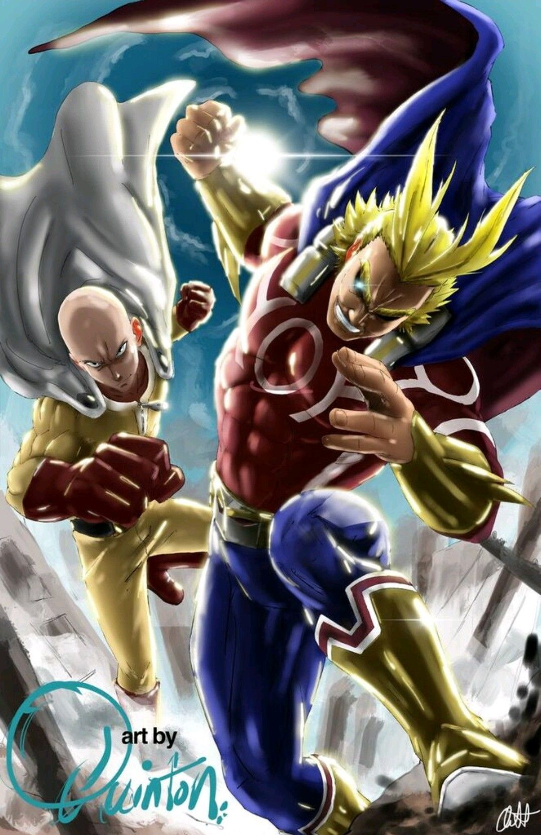 The True Two Heroes My Hero Academia One Punch Man Crossover Hero One Punch Man Cartoon Movies