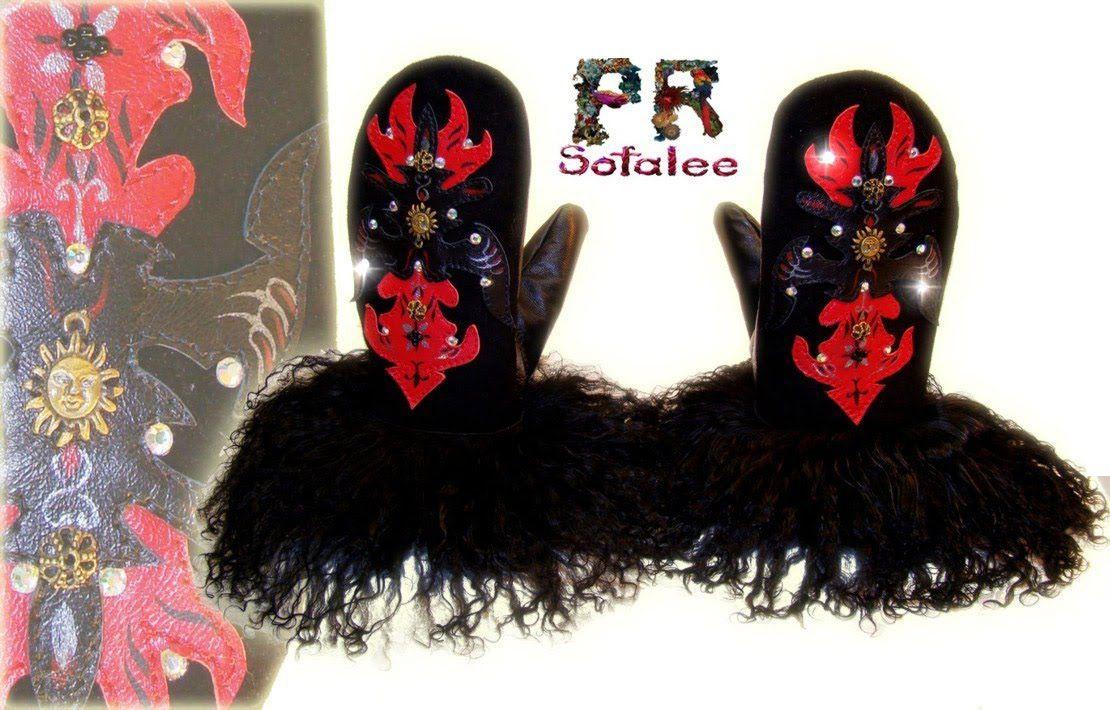 suede mittens of black  lama fur
