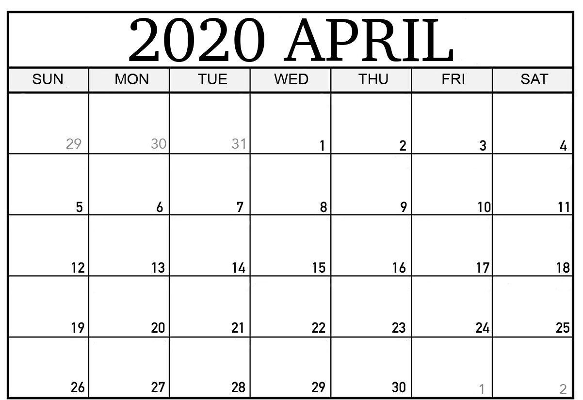 Free Blank April 2020 Calendar Printable Pdf Template Download