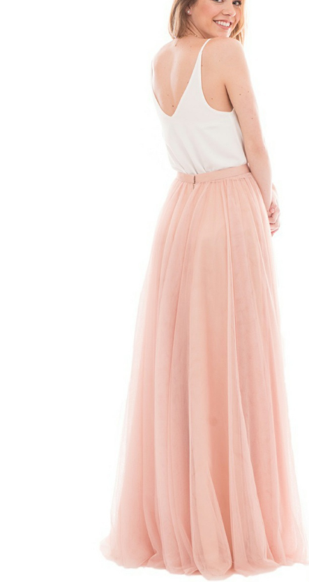 Simple A-line Blush Pink Tulle Long Bridesmaid Dress with White Top - Thumbnail 2