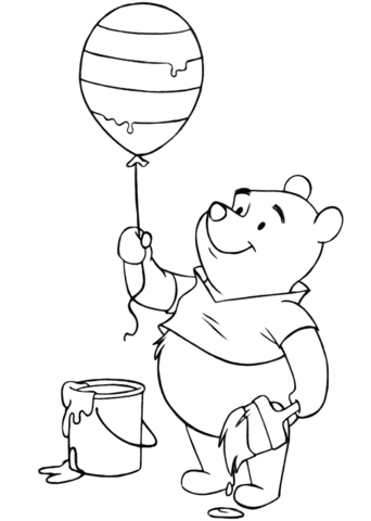 winnie the pooh with easter balloon coloring page   snow white and the seven dwarfs   disney