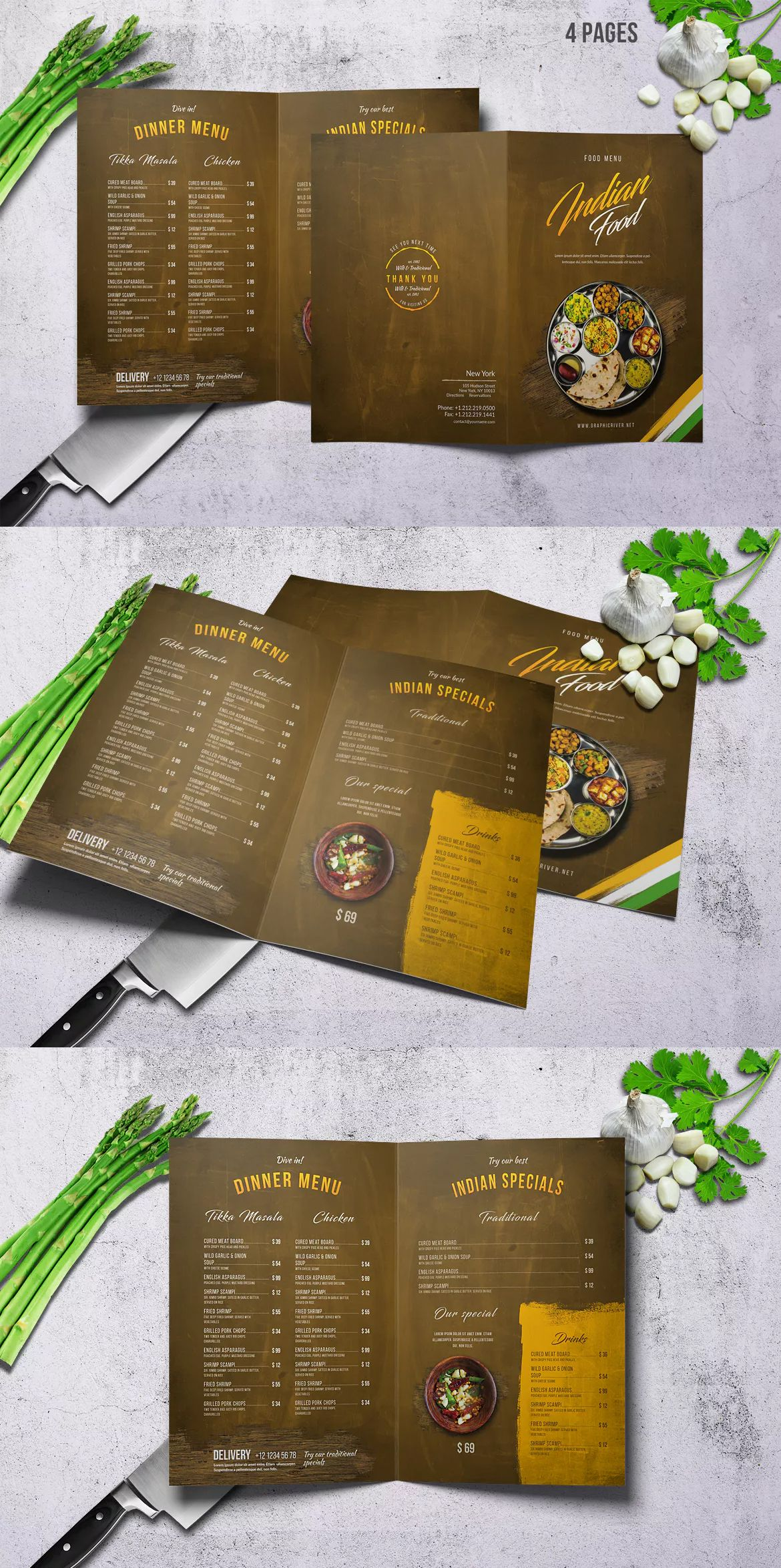 Indian food menu a4 us letter bifold by novocaina on