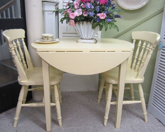 Vintage kitchen table two chairs drop leaf hand painted for Retro kitchen table and chairs