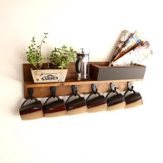 Rustic Wood Coffee Mug Rack Wall Mounted Coffee Cup Display Entryway Organizer Coffee Bar Station Kitchen Organizer Unique Mug Rack Coffee Mug Holder Coffee Cup Holder