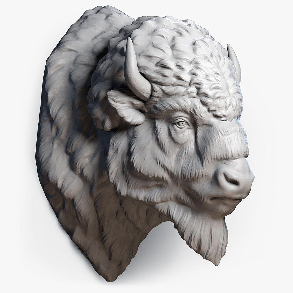 3d American Bison Buffalo Head Wood Art Pinterest