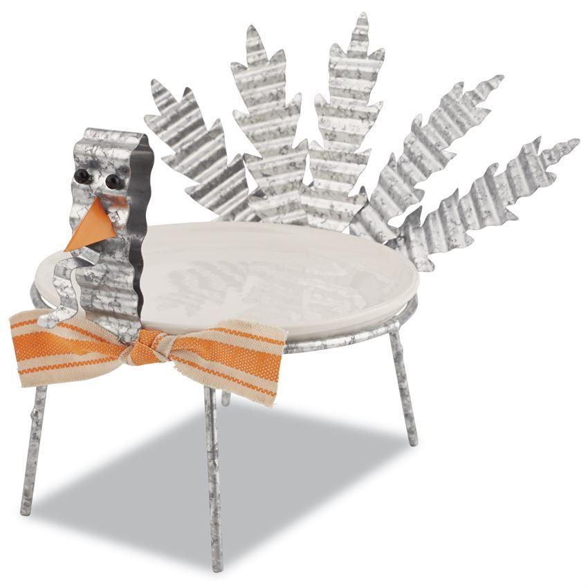 MUD PIE 2 Piece Set. Galvanized Tin Turkey Plate Stand Features Corrugate  Tin