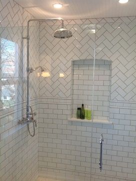 Subway With Herringbone Inset Shower Google Search Bathroom Remodel Shower Bathrooms Remodel Bathroom Remodel Master