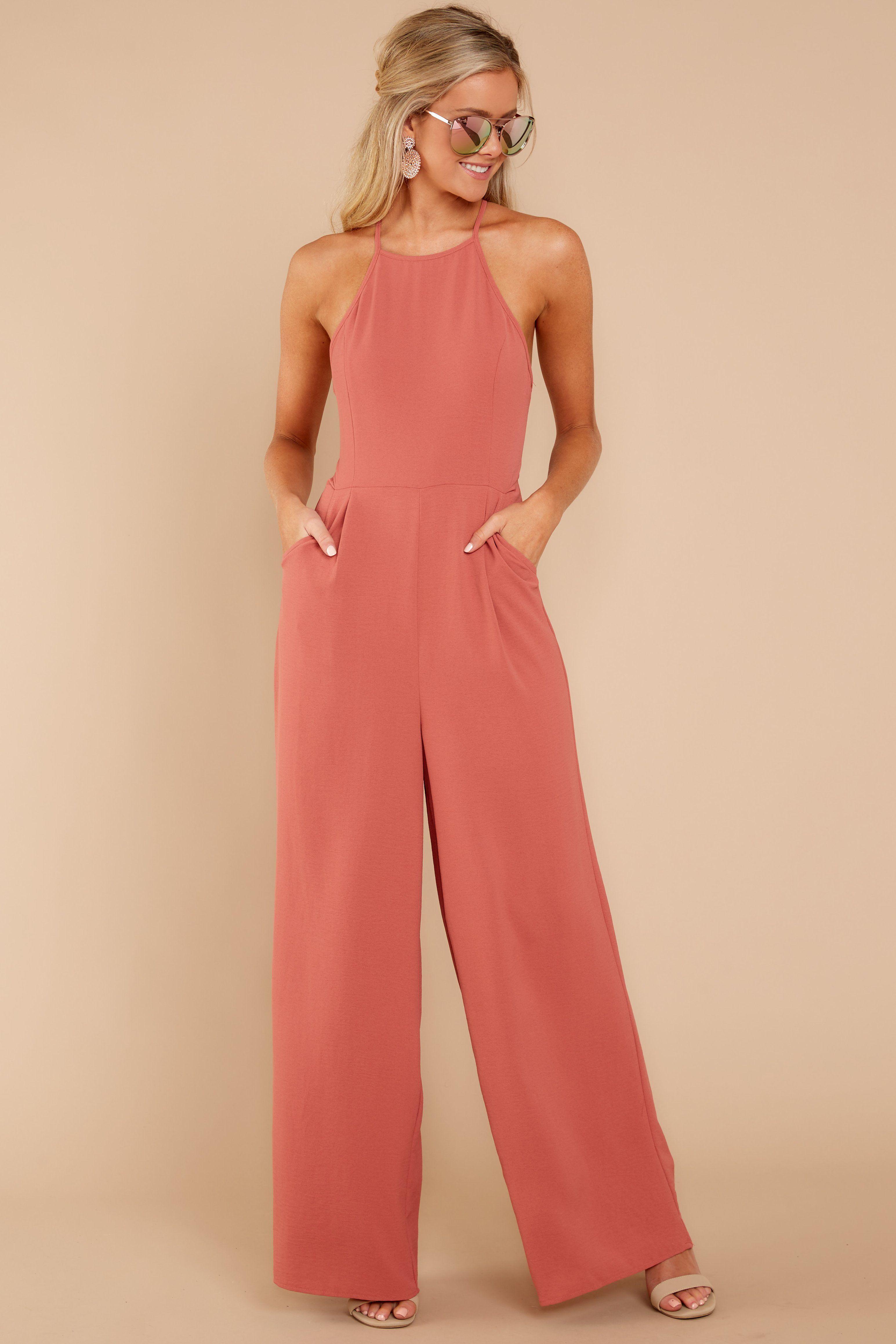 155206c296c Chic Salmon Pink Jumpsuit - Trendy Jumpsuit - Jumpsuit -  44.00 – Red Dress  Boutique