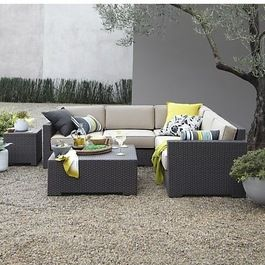 Ventura Modular Right Arm Love Seat with Sunbrella Stone Cushions, Ventura - modern - outdoor sofas - Crate